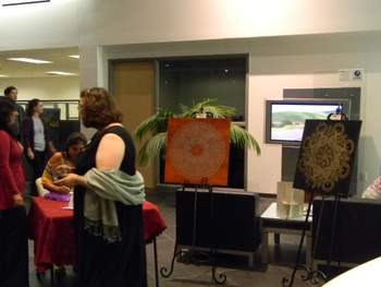 There I am with my art, giving a demo...