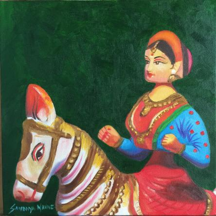 """""""LADY ON A HORSE RIDE""""  Oils on Canvas, 12 X12 Inches ©SandhyaManne"""