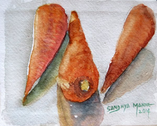 """""""Carrots""""...Watercolors....5x6 inches...©SandhyaManne"""