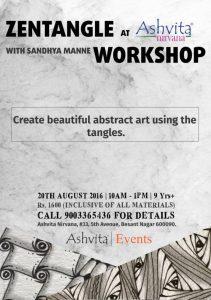 20 Aug 2016 Zentangle Workshop at Ashvita