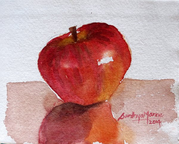 """""""Apple View 1""""...Watercolors....5x6 inches...©SandhyaManne"""