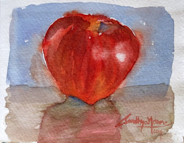 """""""Apple View 2""""...Watercolors....5x6 inches...©SandhyaManne"""