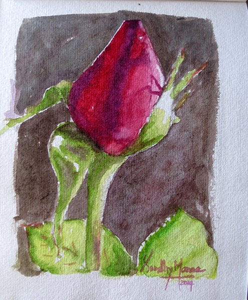 """""""Rose Bud""""...Watercolors....5x6 inches...©SandhyaManne"""