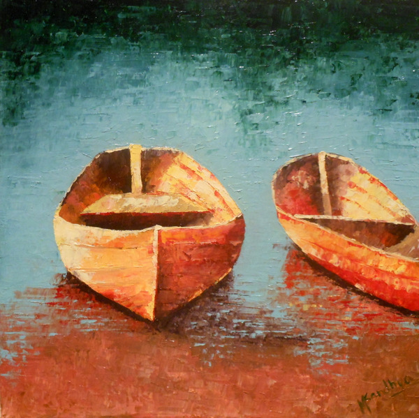 """and SOLD...the """"Boats"""" and 3 other small paintings..."""