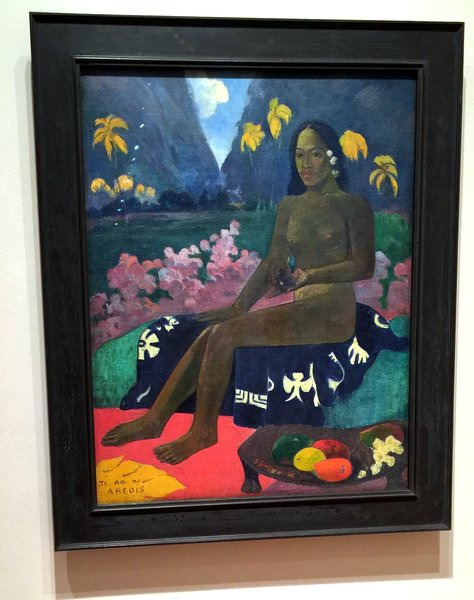 Started with Paul Gauguin's(French 1848-1903)  The seed of the Areoi Medium : Oil on Hessian fabric
