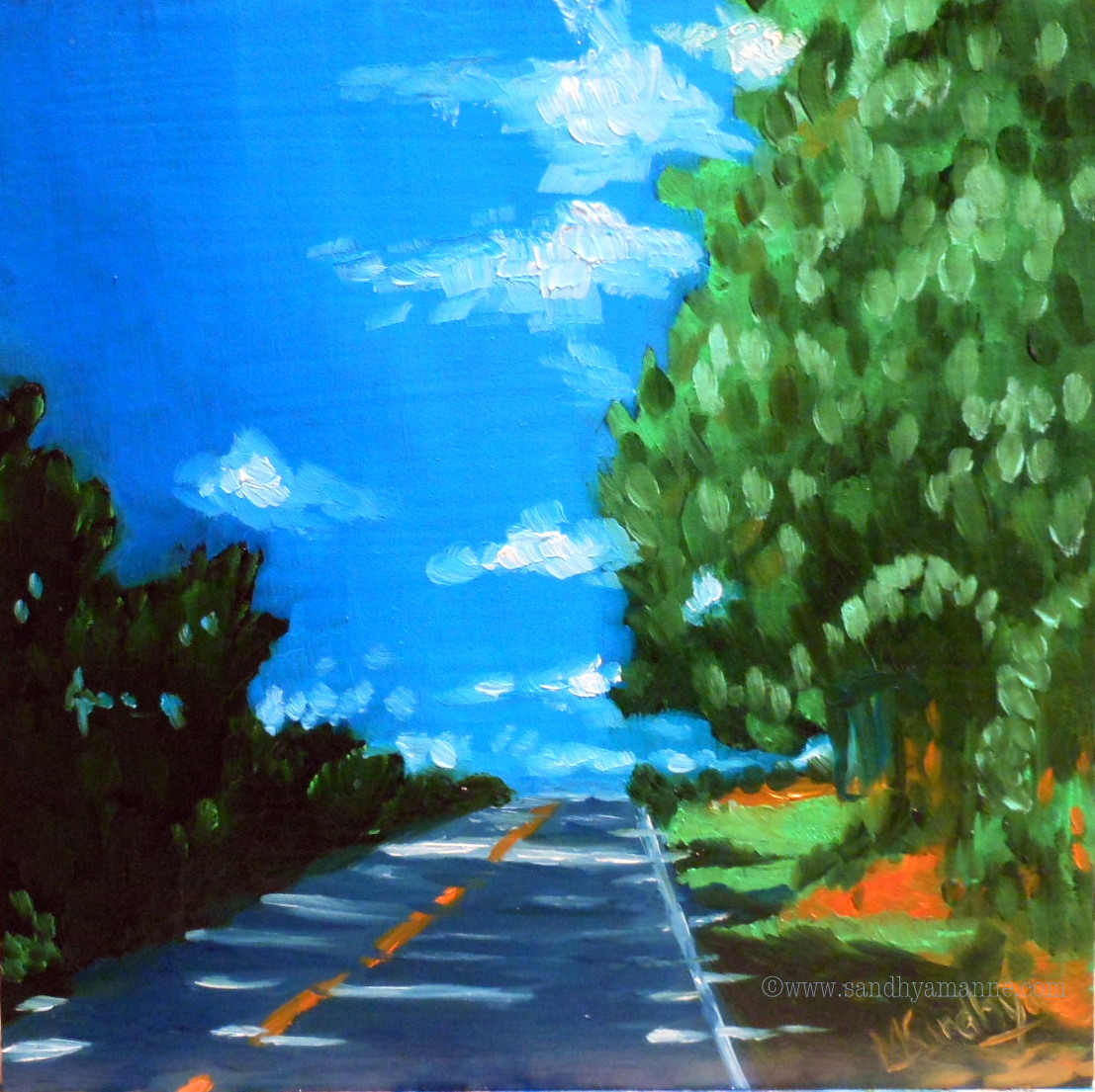 """""""On the road"""" 6X6 inches Oils on Panel ©sandhyamanne"""