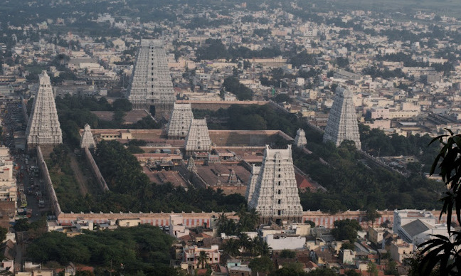 Aerial view of the  temple complex and the city....