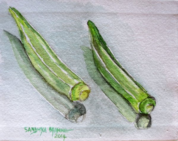 """""""Okra""""...Watercolors....5x6 inches...©SandhyaManne"""