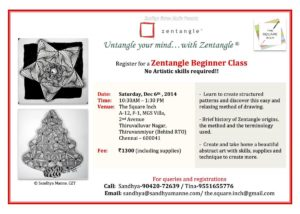 Zentangle Beginner Workshop on 6th Dec 2014
