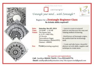 Zentangle Beginner Workshop on 8th Nov 2014