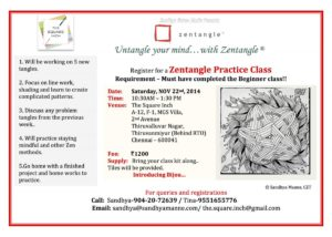 Practice Zentangle Workshop on Nov 22nd 2014
