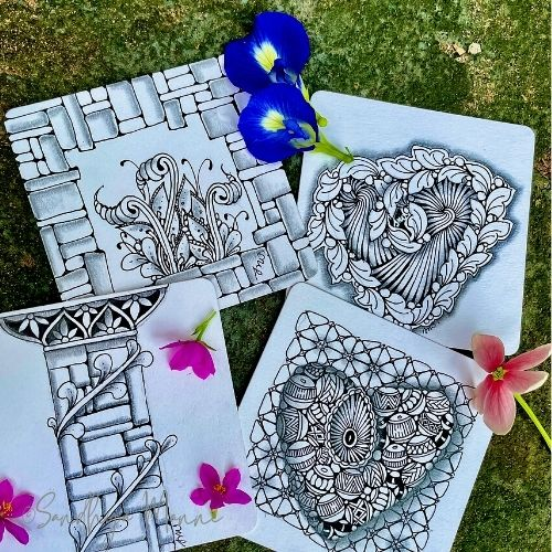 """These were fun """"Tangle along with me"""" projects that we did over the week"""