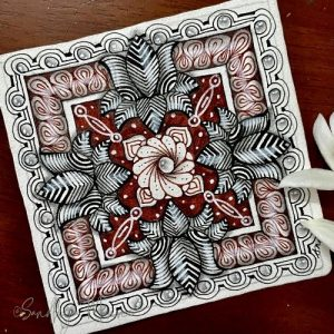 Day 16 of ORNATE SQUARE with String 16, 31 Days of Zen!